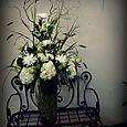 Hydragea and green rose altar arrangement