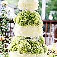White Chocolate Shavings with Hydrangeas, Wedding Cake