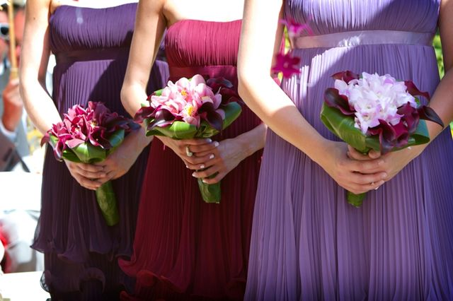 Purple orchid bridesmaids bouquet.