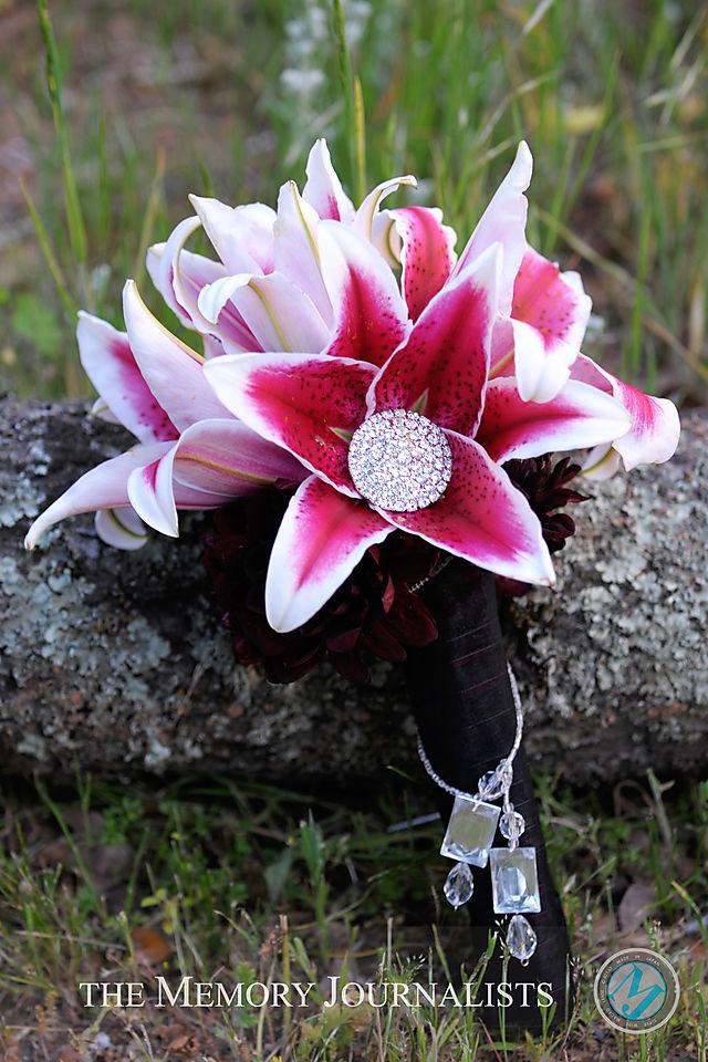 Bridal Flowers Stargazer Lily Bridal Bouquet With Rhinestones