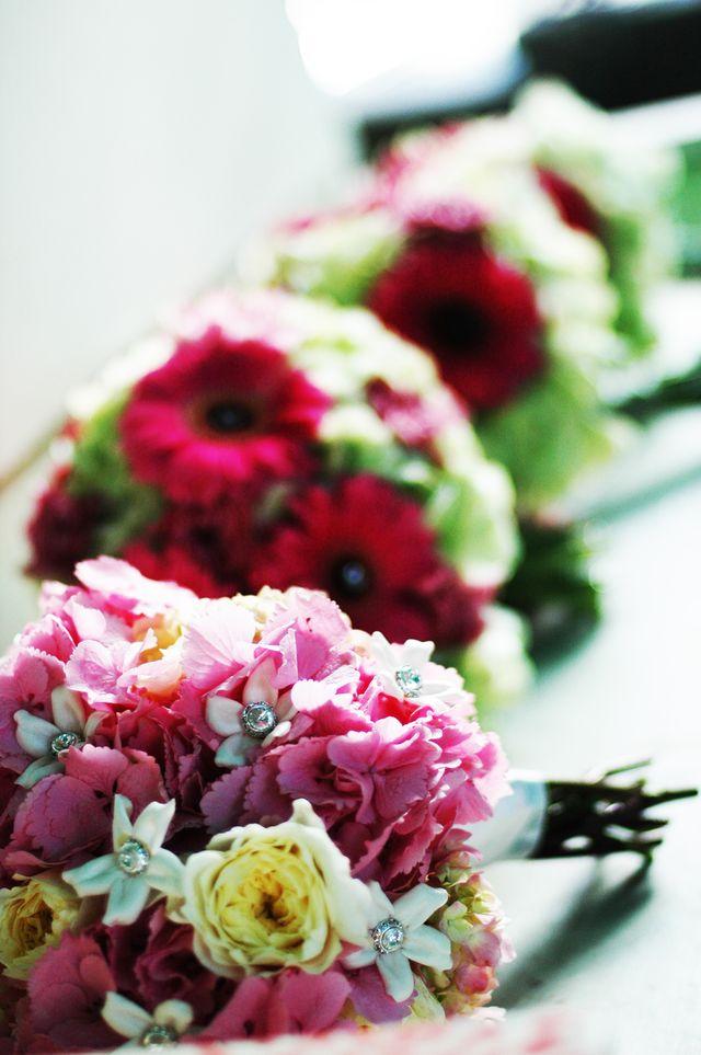 Hydrangeas and gerbera daisy bouquets