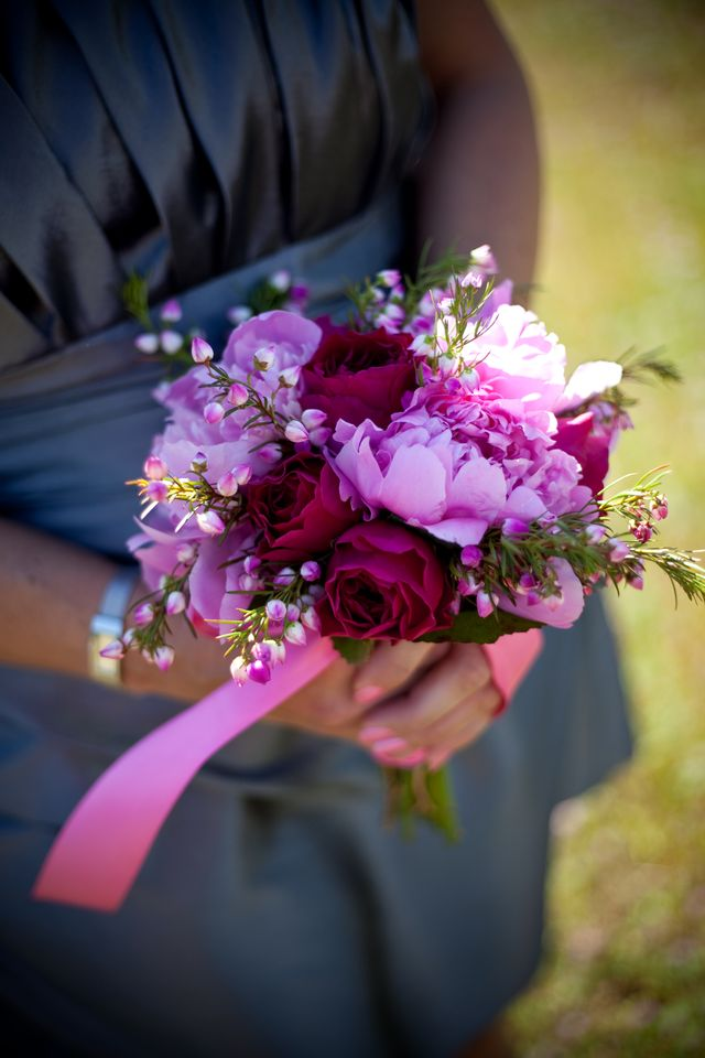 Lavender and hot pink bridesmaid bouquet