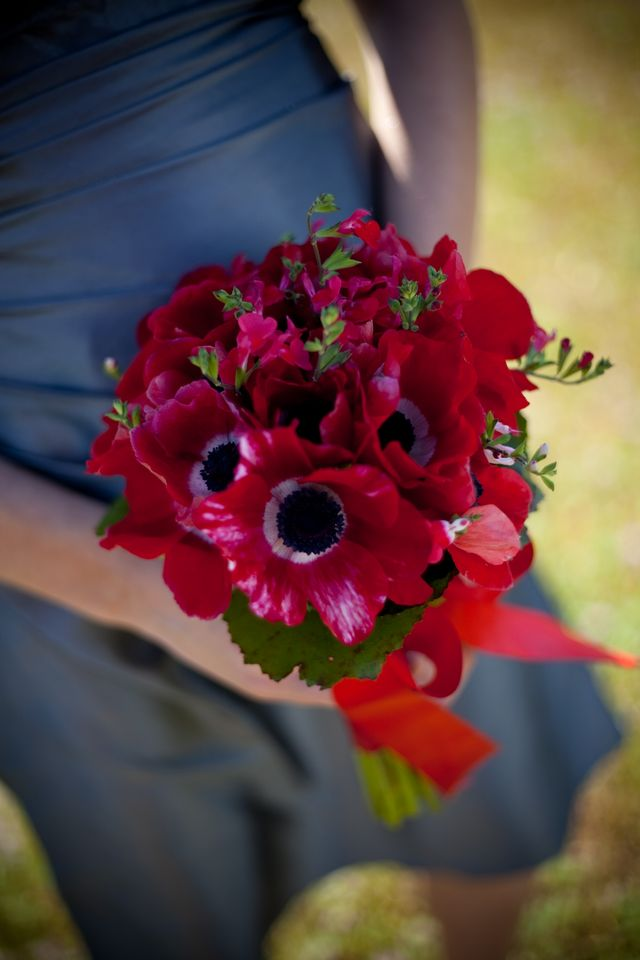 Red and black anemomie bridesmaid bouquet