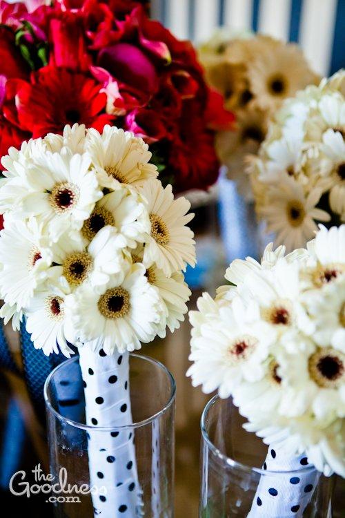 Polka Dot Gerbera Daisy Bridal bouquets