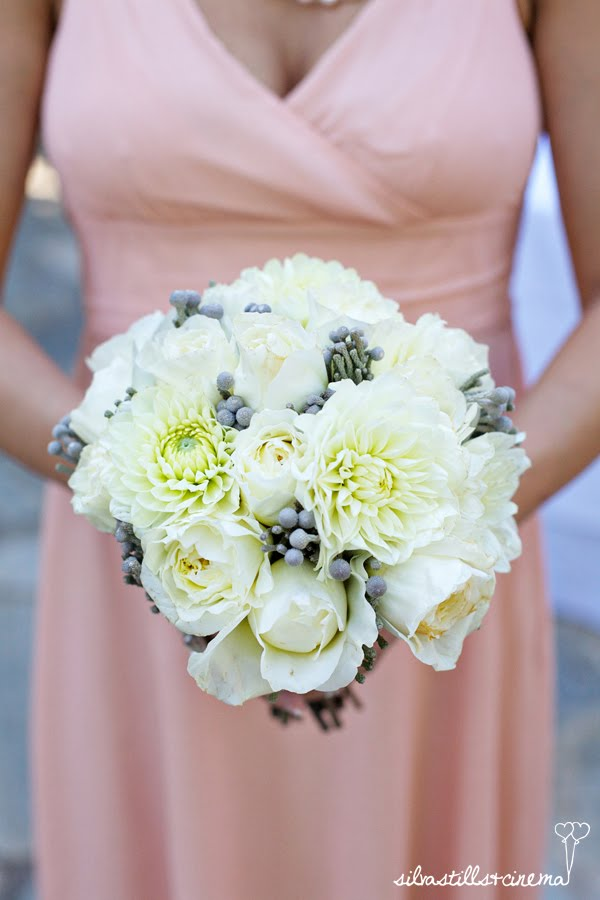 Bridal Flowers White And Grey Bridesmaid Bouquet