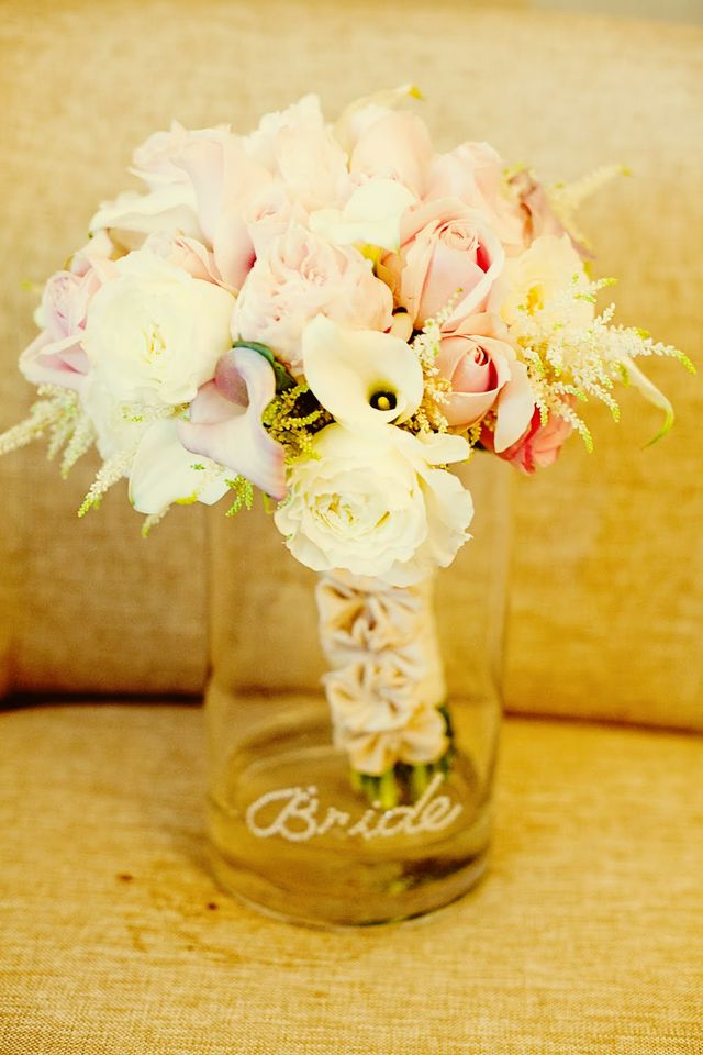 Blush bridal bouquet with silk wrap