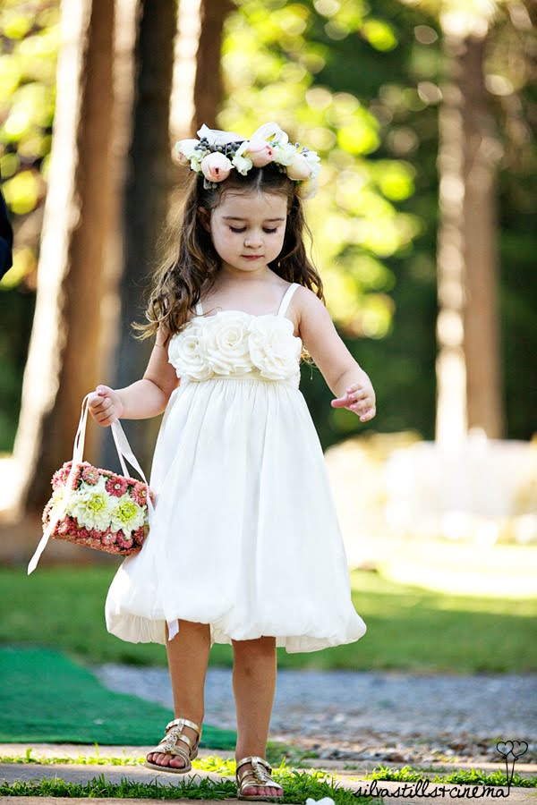 Darling flower girl hair wreath and petal basket made of flowers