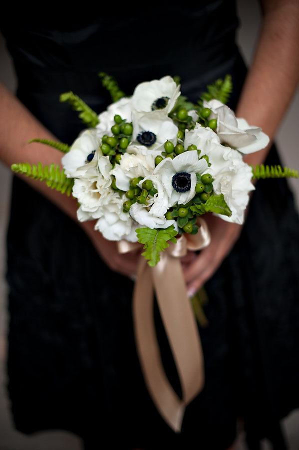 Black and white anenomes for the bridesmaids