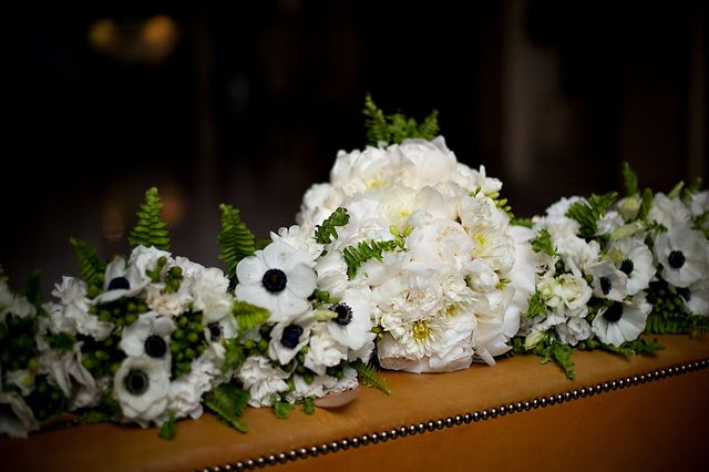 Black and white bridal party flowers
