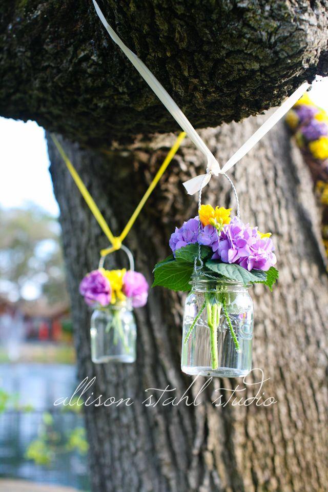 Mason jars in tree
