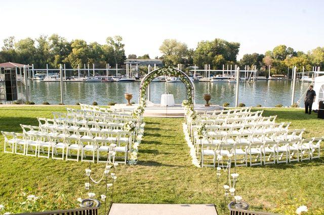 White Ceremony Flowers at La Rivage Hotel in Sacramento