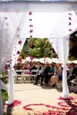Ceremony structure and rose petal aisle at Hans Fahden Winery