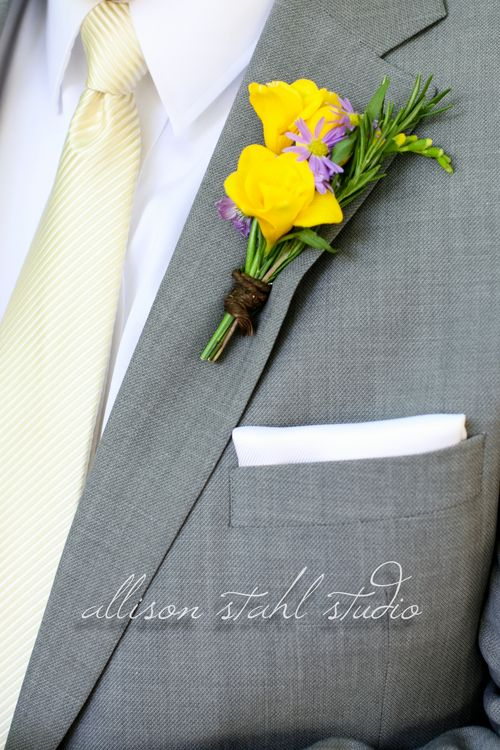 Yellow fressia for the groom