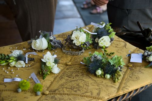 Corsages and Boutonieers in blues and greens