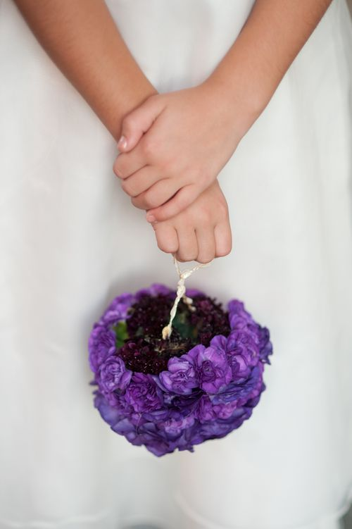 Flower girl basket made of flowers