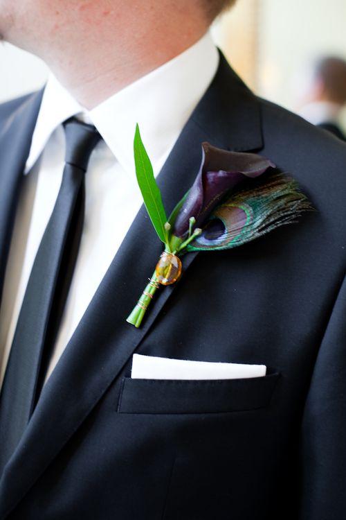Plum calla lily boutonniere