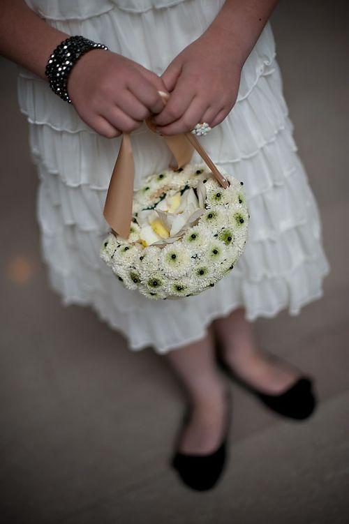 Flower girl basket made of flowers