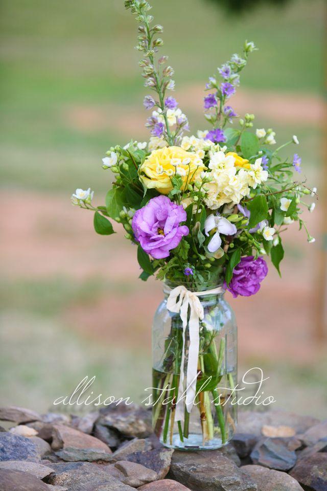 Mason jar bouquet for wedding