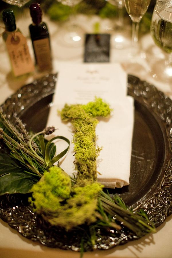 Moss initail at place setting