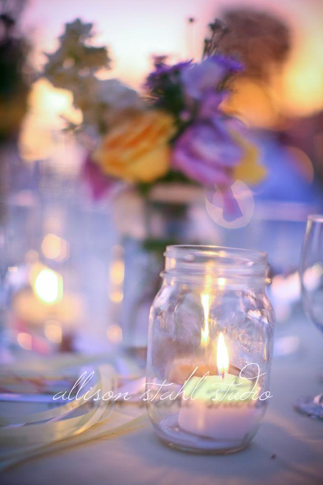 Mason jar with candle