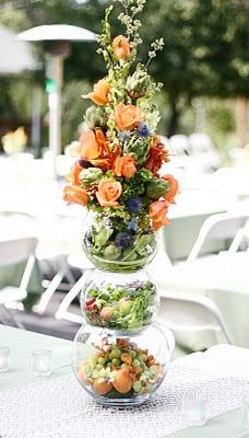 Fruit and Flower Tower Wedding Buffet Arrangement