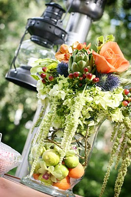 Fruit and Flowers Wedding Centerpiece