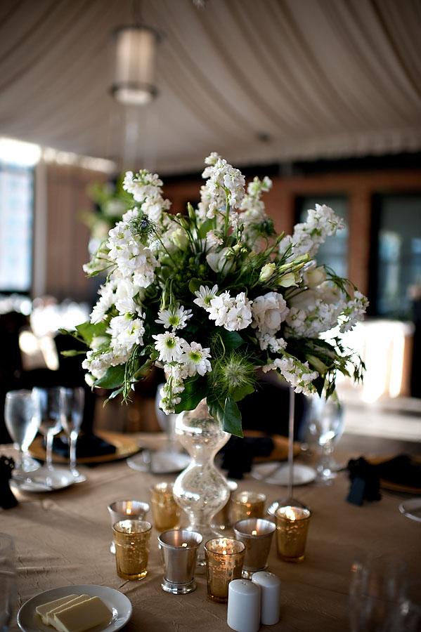 Floral on mercury glass pillar