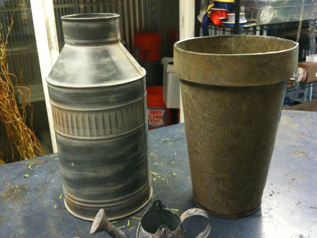 Milk can and green galvanized buckets